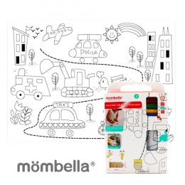 Mombella Car Reusable Silicone Colouring Plate mat - ลายยานพาหนะ