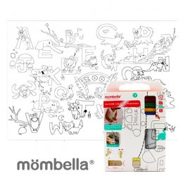 Mombella Zoo Reusable Silicone Colouring Plate mat - ลาย ABC สวนสัตว์