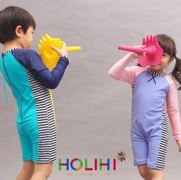 Holihi Swimsuit (Zip) ชุดว่ายน้ำ เกาะเหลายา(ชมพู) - SWZ Lao Yha/P