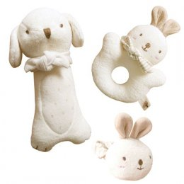 Puppy & Baby Rabbit Rattle Set  (3 Piece Set)  (John N Tree)