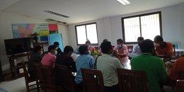 ประชุมผู้นำชุมชน กำนัน ผู้ใหญ่บ้าน ในการสำรวจข้อมูลความต้องการฉีดวัคซีนป้องกันโรคโควิด19