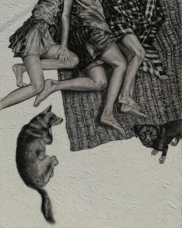 Resting, 150x120 c.m., charcoal and acrylic on fabric, 2011