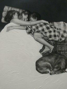 Hug, 120x100 c.m., charcoal and acrylic on fabric, 2011