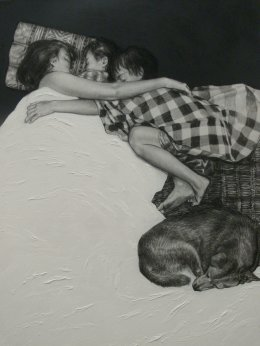 Hug, 120x100 c.m., charcoal and acrylic on fabric, 2011