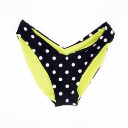 BIKINI BOTTOM SEAMLESS & REVERSIBLE WHITE POLKA DOT & LEMON YELLOW