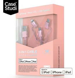 CaseStudi 3-IN-1 CABLE (LIGHTNING, TYPE-C, MICRO USB) (1M) - Pink