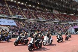 กองทัพดารากับคาราวานรถจักรยานยนต์ยามาฮ่าคิวบิกซ์ ร่วมฉลองอลังการงานช่อง 3