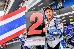"""นักบิด YAMAHA THAILAND RACING TEAM สุดเจ๋ง ตั้น-เดชา ไกรศาสตร์ ผงาดคว้า """"รองแชมป์"""" ศึกชิงแชมป์โลก World Supersport สนาม 2 ต่อหน้ากองเชียร์ชาวไทย"""