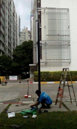 CCTV POLE พ่นอบสีดำ