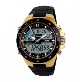 SKMEI Men's Gold Silicone Strap Watch 1016