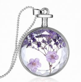 Okdeals Flowers Glass Current Bottle Necklace Type C Jewelry Silver