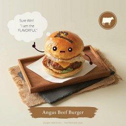 เบอร์เกอร์เนื้อแองกัส ชิ้นหนาใหญ่ เกรดพรีเมี่ยมจากออสเตรเลีย