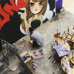 """๋ี""""June Bar"""" Graffiti Painting"""