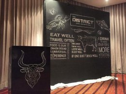 """""""The District Bar & Grill Room"""" Back drop painting"""