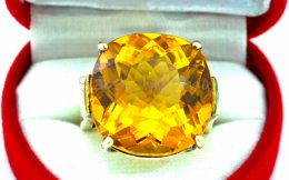 14.1 Gram NATURAL SUPERB GOLDEN YELLOW SAPPHIRE 925 SILVER RING SIZE 7.5