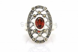 NATURAL BLOOD RED RUBY STERLING 925 SILVER RING SIZE 8 **FREE JEWELRY BOX**