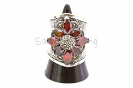 NATURAL BLOOD RED RUBY LOVE STERLING SILVER 925 RING SIZE 8 **FREE SHIPPING**