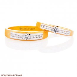 แหวนเพชรคู่ ตัวเรือน Rose Gold 18K