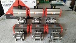 Ball valve 3PC ประกอบหัวขับลม