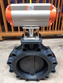 UPVC lug type butterfly valves + pneumatic actuator