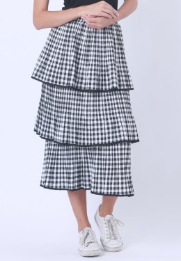 U-RE Stripes Pattern 3 Layers Skirt