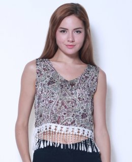 U-re Chiffon Crop top with Lace