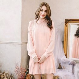 YOCO turtleneck collar pleated chiffon dress - pink peach 6022383