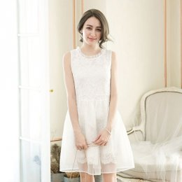 YOCO tulle sleeveless dress - white 6022678
