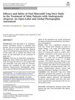 งานวิจัยด้านการดูแลรักษาภาวะผมบางในผู้ชายจากพันธุกรรม โดยการใช้ยาไมน๊อกซิดิวแบบรับทาน รุจ Oral Minoxidil in the Treatment of male AGA โดย ผศ. นพ. ศุภะรุจ เลื่องอรุณ (หมอรุจ) และ รศ.ดร.พญ. รัชต์ธร ปัญจประทีป Oral Minoxidil in the Treatment of male AGA