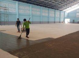 งานพื้น PU Sport Coating สนามกีฬาฟุตซอล พระประแดง