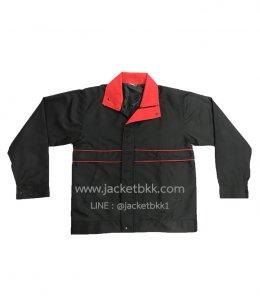 Jacket เสื้อแจ็คเก็ตสำเร็จรูป ผ้าไมโคร สีดำตัดต่อแดง (ซิบรูดถึงปลายปก/คอตั้ง)