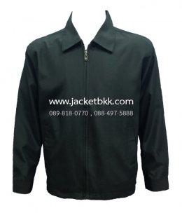 เสื้อแจ็คเก็ต นำเข้า ผ้ามัน คอปกสีดำ