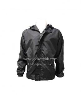 เสื้อแจ็คเก็ต-ผ้าร่มกันน้ำสีดำมีฮู๊ด