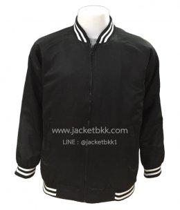 เสื้อแจ็คเก็ตทรงเบสบอล แบบคอตั้งทอพรม สีดำล้วน