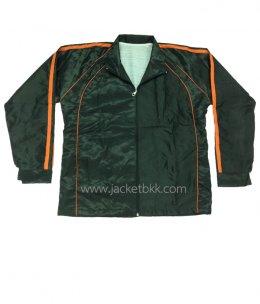 เสื้อแจ็คเก็ต-ผ้าร่มลายริ้วสีดำตัดต่อสีส้ม