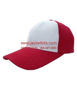 หมวกแก๊ปผ้าพีชเต็มใบสีแดงตัดต่อสีขาว
