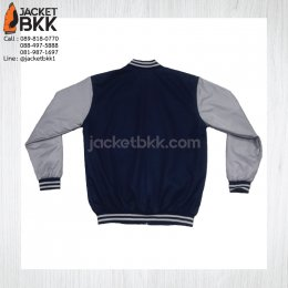 เสื้อแจ็คเก็ตทรงเบสบอล สีกรมท่าตัดต่อเทา - ขอขอบคุณลูกค้า #ISUZU