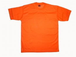 เสื้อคนงานก่อสร้างแขนสั้น ผ้าทีซี สีส้ม