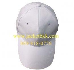 หมวกแก๊ปผ้าพีช สีขาว เจาะรูตาไก่+มีแซนวิชสีขาว ปลายปีกหมวก