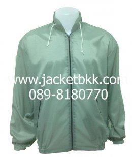 เสื้อแจ็คเก็ตผ้าร่มมีฮู๊ด สีเทา