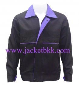 เสื้้อแจ็คเก็ตผ้าคอมทวิว  สีดำปกม่วง