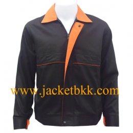 เสื้อแจ๊คเก็ตตัดต่อแบบ A สีดำปกส้ม ผ้าคอม 60