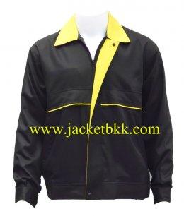 เสื้อแจ๊คเก็ตตัดต่อแบบ A สีดำปกเหลือง ผ้าคอมทวิว