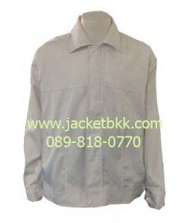 เสื้อแจ็คเก็ต ผ้าคอตตอนคอมพ์ ซับในทั้งตัว สีขาว