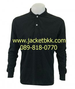 เสื้อคนงานชนิดมีปก แขนยาวและมีกระเป๋าสีดำ