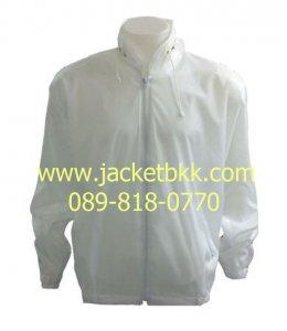 เสื้อแจ็คเก็ตผ้าร่มมีฮู๊ด สีขาว