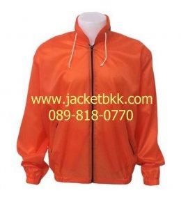เสื้อแจ็คเก็ตผ้าร่ม มีฮู๊ด สีส้ม