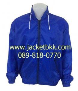 เสื้อแจ็คเก็ตผ้าร่มมีฮู๊ด สีน้ำเงิน