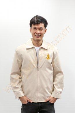 เสื้อแจ็คเก็ตนำเข้า คอปกสีครีม ปักกรุงเทพมหานคร