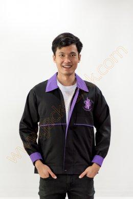 เสื้อแจ็คเก็ตผ้าคอมทวิวสีดำ ปกสีม่วง